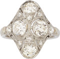 Estate Jewelry:Rings, Art Deco Diamond, White Gold Ring. . ...