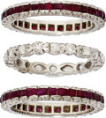 Estate Jewelry:Rings, Diamond, Ruby, Platinum Eternity Bands. ... (Total: 3 Items)