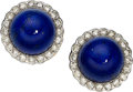 Estate Jewelry:Earrings, Lapis Lazuli, Diamond, Gold Earrings, Tiffany & Co.. ...(Total: 2 Items)
