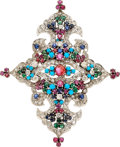 Estate Jewelry:Brooches - Pins, Diamond, Multi-Stone, White Gold Brooch, Leon & B.. ...