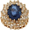 Estate Jewelry:Rings, Blue Spinel, Diamond, Gold Ring. ...