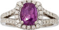 Estate Jewelry:Rings, Purple-Pink Sapphire, Diamond, White Gold Ring. . ...