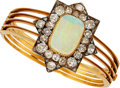 Estate Jewelry:Bracelets, Antique Opal, Diamond, Gold Bracelet, English. ...