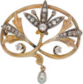 Estate Jewelry:Brooches - Pins, Antique Colored Diamond, Diamond, Freshwater Cultured Pearl, Gold,Silver Brooch. ...