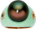 Estate Jewelry:Rings, South Sea Cultured Pearl, Tsavorite Garnet, Enamel, Gold Ring,Prince Dimitri. . ...
