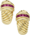 Estate Jewelry:Earrings, Ruby, Gold Earrings, David Yurman. ... (Total: 2 Items)