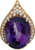 Estate Jewelry:Pendants and Lockets, Amethyst, Diamond, Gold Pendant. ...