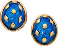 Estate Jewelry:Earrings, Enamel, Gold Earrings, Schlumberger for Tiffany & Co. . . ...(Total: 2 Items)