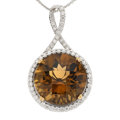 Estate Jewelry:Pendants and Lockets, Citrine, Diamond, White Gold Pendant-Necklace. ...