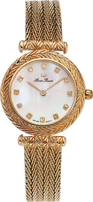 Lucien Piccard Lady's Diamond, Mother-of-Pearl, Gold Watch