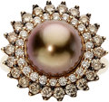 Estate Jewelry:Rings, South Sea Cultured Pearl, Colored Diamond, Diamond, Gold Ring. ...