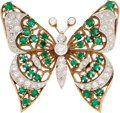 Estate Jewelry:Brooches - Pins, Diamond, Emerald, Platinum, Gold Brooch. ...