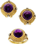 Estate Jewelry:Suites, Amethyst, Diamond, Gold Jewelry Suite. . ... (Total: 3 Items)