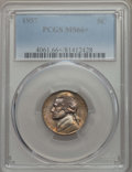 Jefferson Nickels, 1957 5C MS66+ PCGS. PCGS Population: (89/2 and 4/0+). NGC Census: (116/4 and 0/0+). Mintage 38,400,000. ...