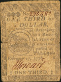 Continental Currency February 17, 1776 $1/3 Very Good