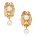 Estate Jewelry:Earrings, Cultured Pearl, Gold Earrings. . ... (Total: 2 Items)