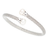 Freshwater Cultured Pearl, White Gold Bracelet