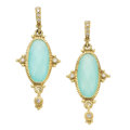 Estate Jewelry:Earrings, Chalcedony, Gold Earrings. . ... (Total: 2 Items)