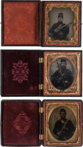 Photography:Tintypes, Lot of Three Civil War 1/6th Plate Images of Armed UnionSoldiers.... (Total: 3 Items)