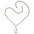 Estate Jewelry:Necklaces, Aquamarine, Diamond, White Gold Necklace. . ...
