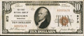 National Bank Notes:Wisconsin, Elkhorn, WI - $10 1929 Ty. 1 The First NB Ch. # 873. ...
