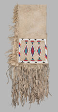 American Indian Art:Beadwork and Quillwork, A Blackfoot Beaded Hide Double Saddle Bag. c. 1940...