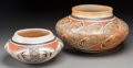 American Indian Art:Pottery, Two Hopi Polychrome Jars. Helen Naha and Elva Nampeyo. c. 1970...(Total: 2 Items)