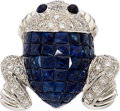 Estate Jewelry:Brooches - Pins, Sapphire, Diamond, White Gold Brooch. ...
