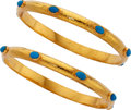 Estate Jewelry:Bracelets, Turquoise, Gold Bracelets. ... (Total: 2 Items)