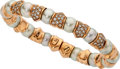 Estate Jewelry:Bracelets, Cultured Pearl, Diamond, Pink Gold Bracelet. ...