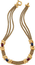 Estate Jewelry:Necklaces, Ruby, Sapphire, Gold Necklace. ...