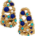 Estate Jewelry:Earrings, Lapis Lazuli, Turquoise, Diamond, Gold Earrings, Ruser. ... (Total:2 Items)