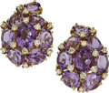 Estate Jewelry:Earrings, Amethyst, Diamond, Gold Earrings. ... (Total: 2 Items)