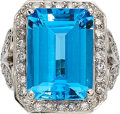 Estate Jewelry:Rings, Blue Topaz, Diamond, White Gold Ring. ...