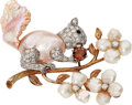 Estate Jewelry:Brooches - Pins, Diamond, Colored Diamond, Freshwater Cultured Pearl, Platinum, GoldBrooch, Ruser. ...