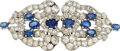 Estate Jewelry:Brooches - Pins, Art Deco Sapphire, Diamond, White Gold Double-Clip-Brooch. ...