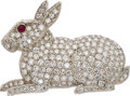 Estate Jewelry:Brooches - Pins, Diamond, Ruby, Platinum Brooch. ...