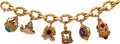 Estate Jewelry:Bracelets, Multi-Stone, Glass, Gold Charm Bracelet. ...