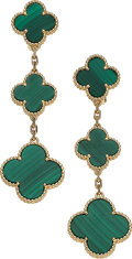 Estate Jewelry:Earrings, Malachite, Gold Earrings, Van Cleef & Arpels. ... (Total: 2 Items)