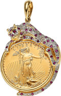 Estate Jewelry:Pendants and Lockets, Diamond, Ruby, U.S. Gold Coin, Gold Pendant. ...