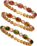 Estate Jewelry:Bracelets, Tourmaline, Diamond, Pink Gold Bracelets. ... (Total: 3 Items)