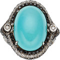 Estate Jewelry:Rings, Turquoise, Colored Diamond, Diamond, White Gold Ring. ...