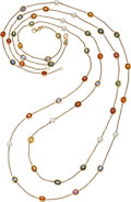 Estate Jewelry:Necklaces, Multi-Color Sapphire, Cultured Pearl, Gold Necklaces. ...
