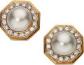 Estate Jewelry:Earrings, Mabe Pearl, Diamond, Gold Earrings. ... (Total: 2 Items)
