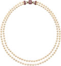 Estate Jewelry:Necklaces, Cultured Pearl, Ruby, Diamond, Gold Necklace. . ...