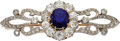 Estate Jewelry:Brooches - Pins, Sapphire, Diamond, Platinum-Topped Gold Brooch, French. ...