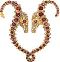 Estate Jewelry:Brooches - Pins, Ruby, Diamond, Gold Brooch, Lalaounis. ...