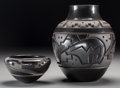American Indian Art:Pottery, Two Santa Clara Carved Blackware Jars. Effie and Orville Garcia and Harrison Begay . c. 1985 and 1999... (Total: 2 Items)