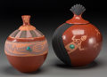 American Indian Art:Pottery, Two San Ildefonso Lidded Redware Jars. Russell Sanchez. c. 2000...(Total: 2 Items)