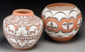 American Indian Art:Pottery, Two Southwest Polychrome Jars . Noreen Simplicio and Gladys Paquin.c. 1997 and 1999...